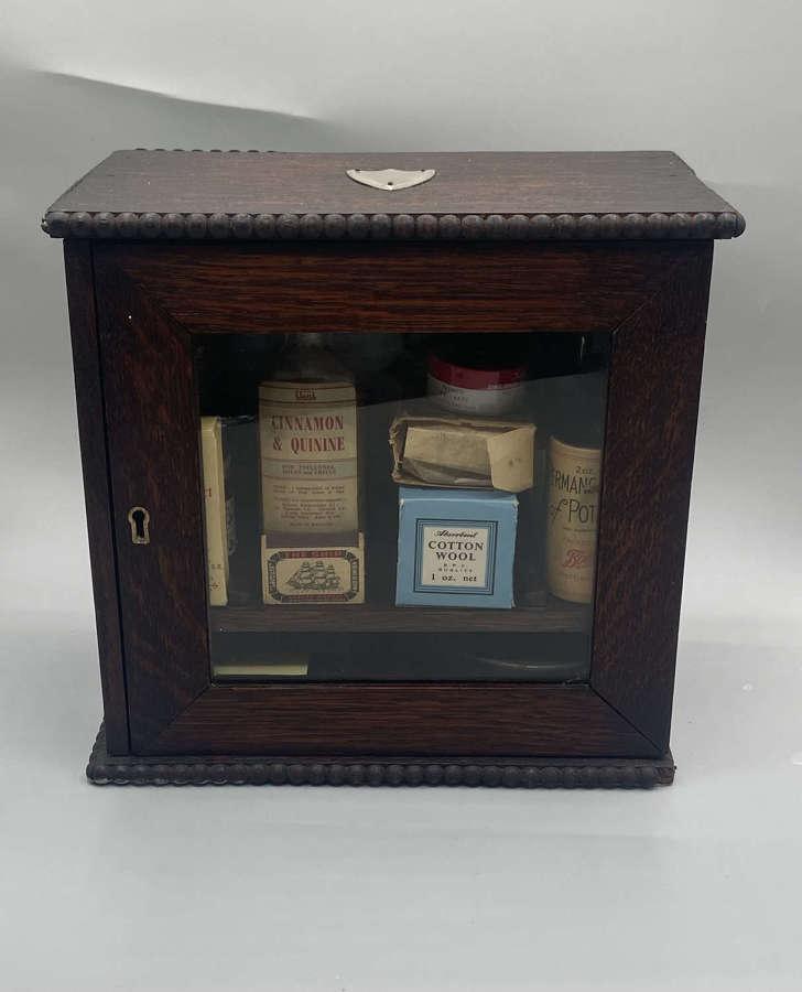 Antique WW2 British Civilian Home Front Cabinet Of Supply' Bottles Etc