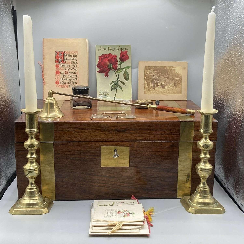 Antique Brass Figured Walnut Military Campaign Slope Secret Draw