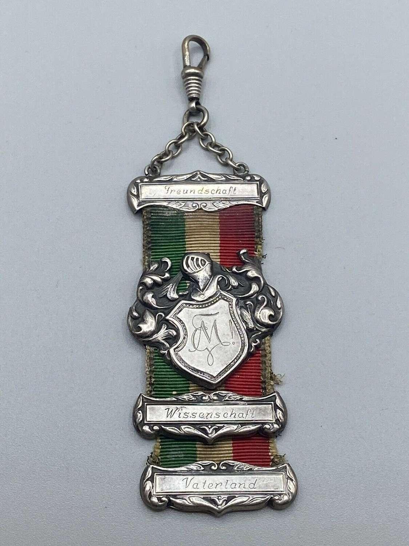 WW1 German Fraternity Silver Hallmarked 835 Fob Friendship Fartherland