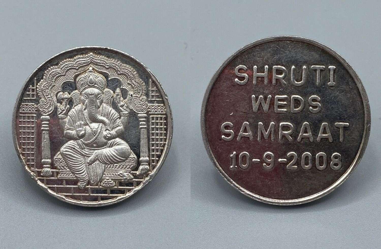 Vintage Ganesh Yantra Indian Hinduism Silver Medal Shruti Weds Samraat