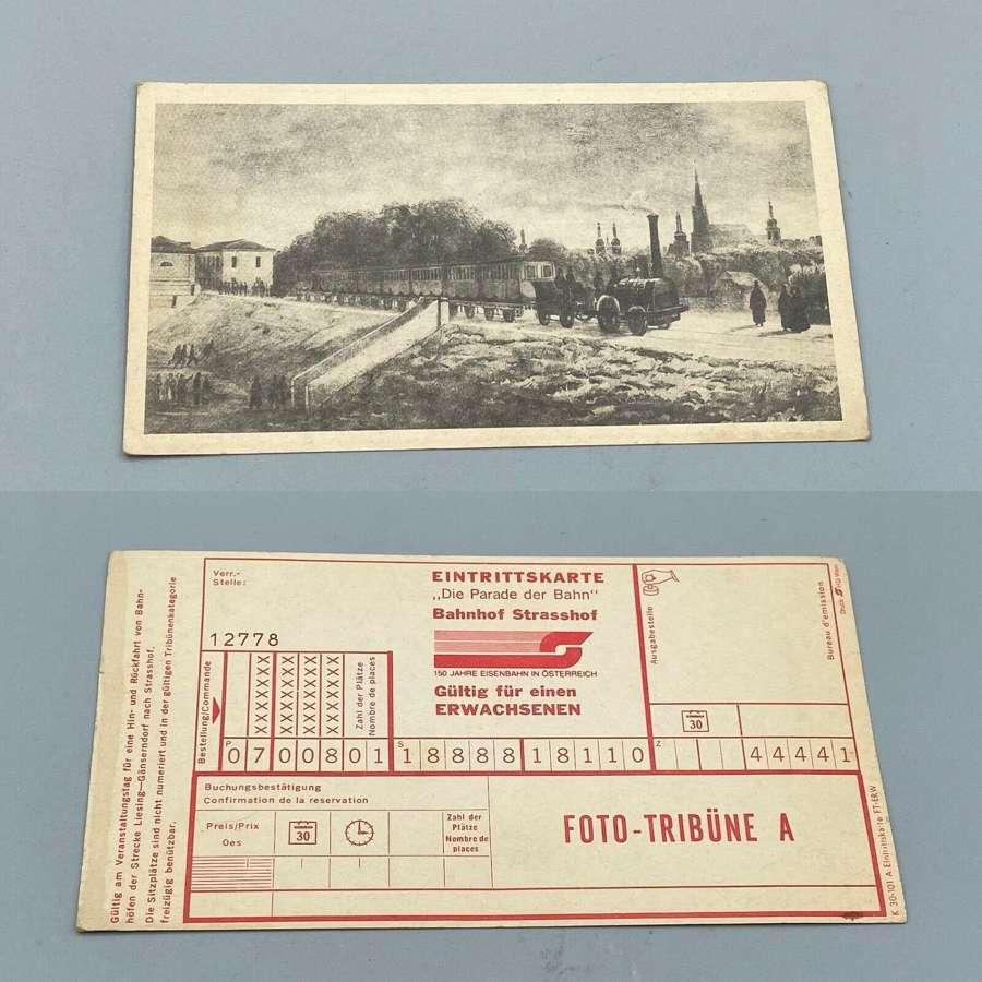 1837 1st steam train ride Austria Ferdinands Nordbahn Eisenbahn ticket