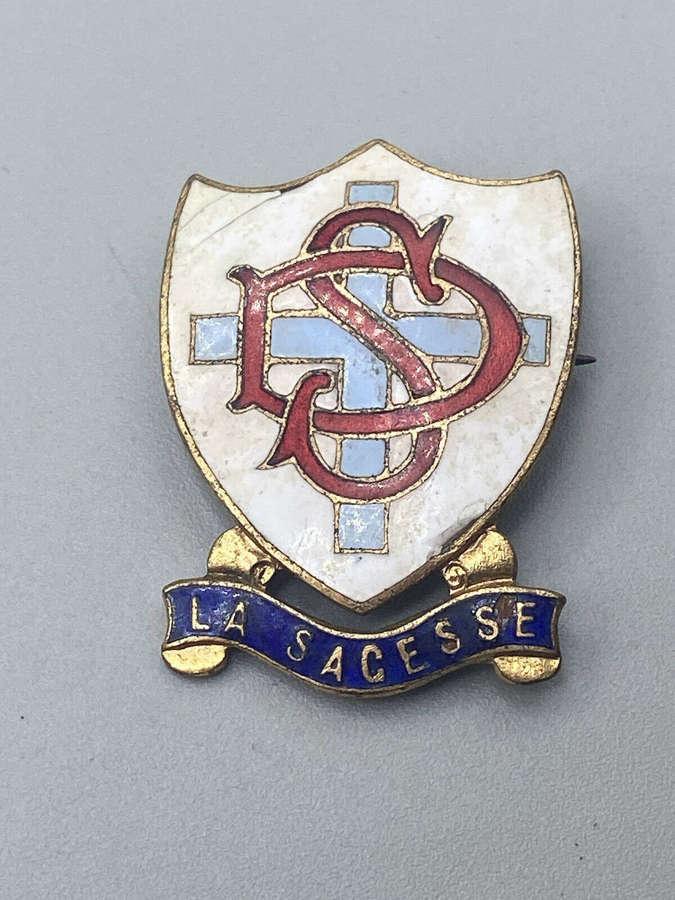 Antique Catholic La Sagesse School Enamel And Brass Badge