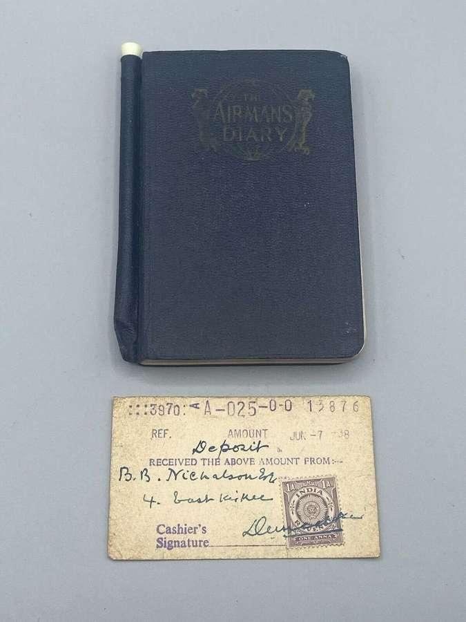 WW2 RAF Airmans Diary 1938 Civil Aviation India