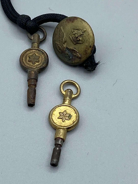 Antique Victorian Star Brass Pocket Watch Keys & RAF Button