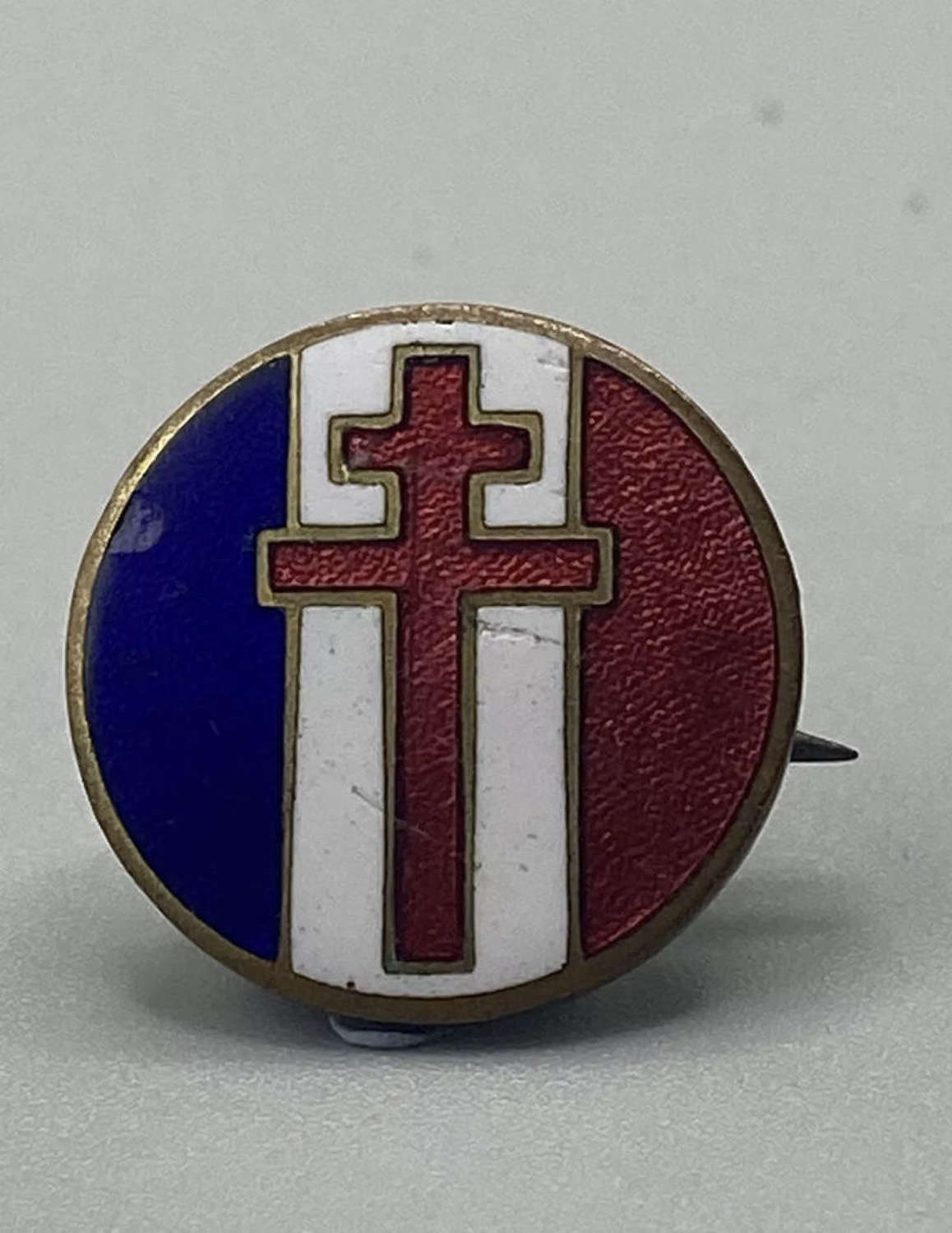WW2 French Resistance Supporters Enamel And Brass Badge
