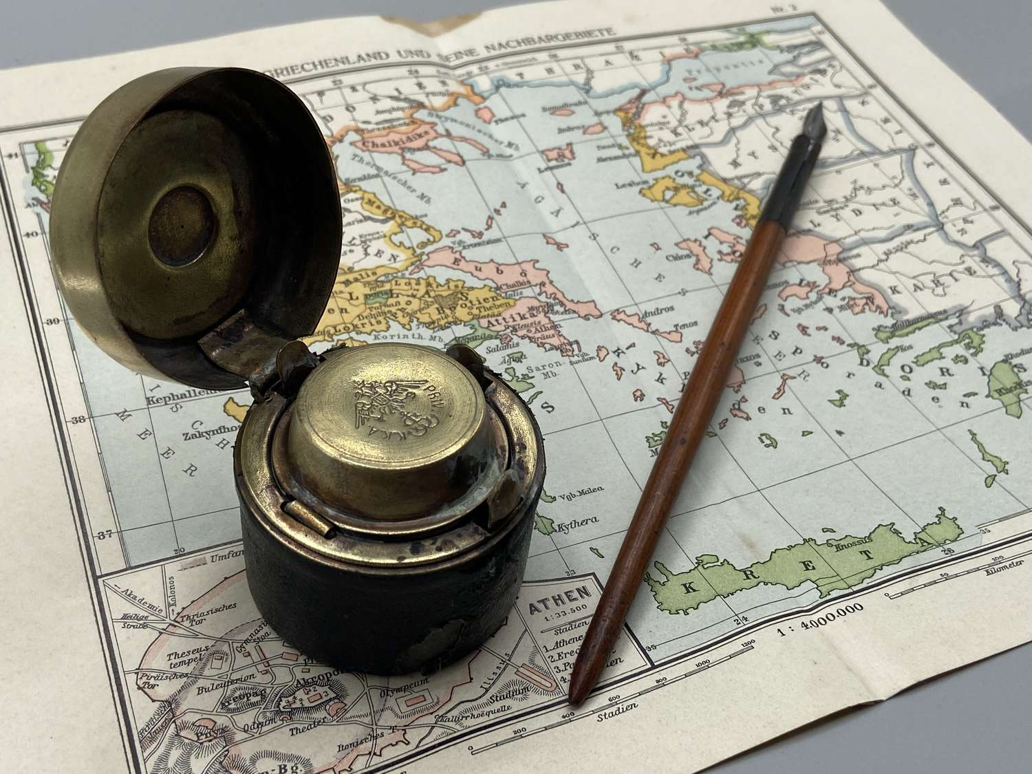 Early WW1 Russian Imperial Navy Officers K.K.A PRIV Inkwell, Map, etc