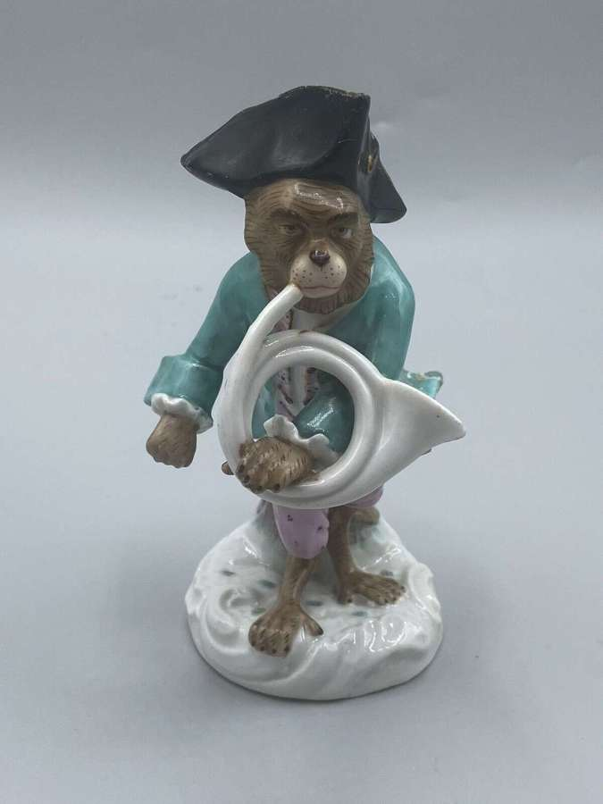 18th Century Meissen Marked Porcelain Monkey Orchestra Beagle Figure