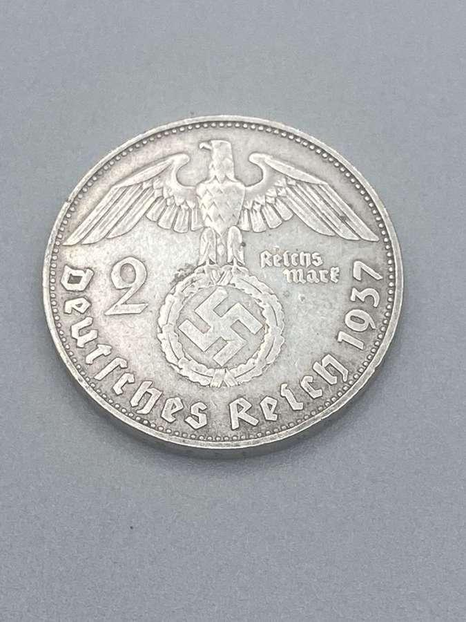 2 Reichsmark Nazi Germany (1933-1945) Silver 1937 Paul von Hindenburg