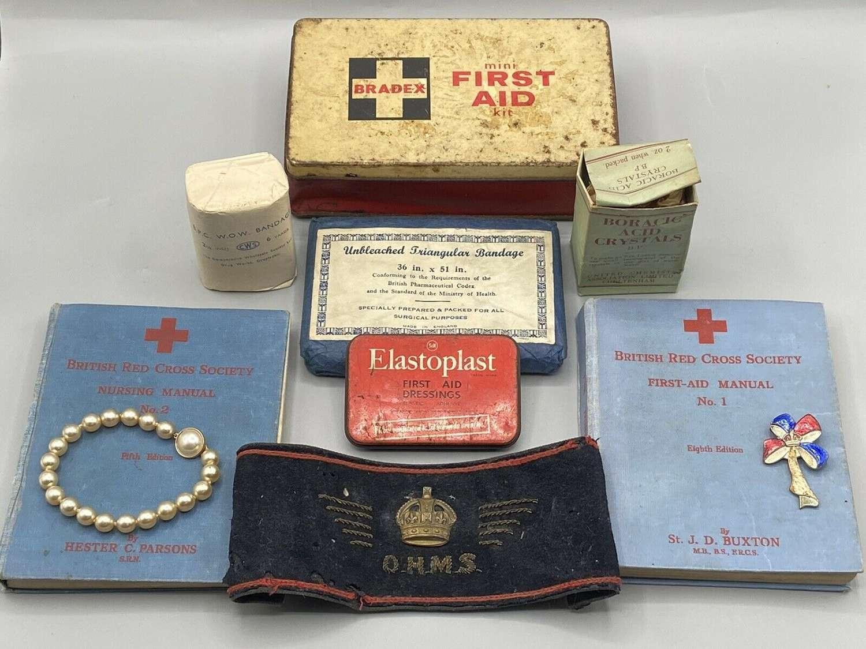 WW2 British Homefront Aid Supplies, Armbands, Pearls, Badge, Manuals