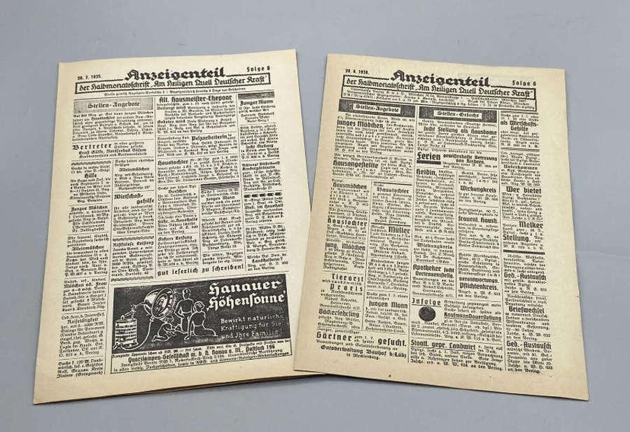 WW2 German Advertisement Announcement Anzeige Leaflets Issue 6 & 8