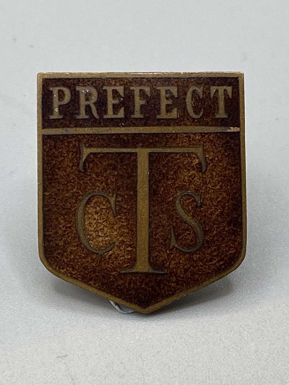 Victorian 1860s School Prefect CTS Brown Enamel Badge