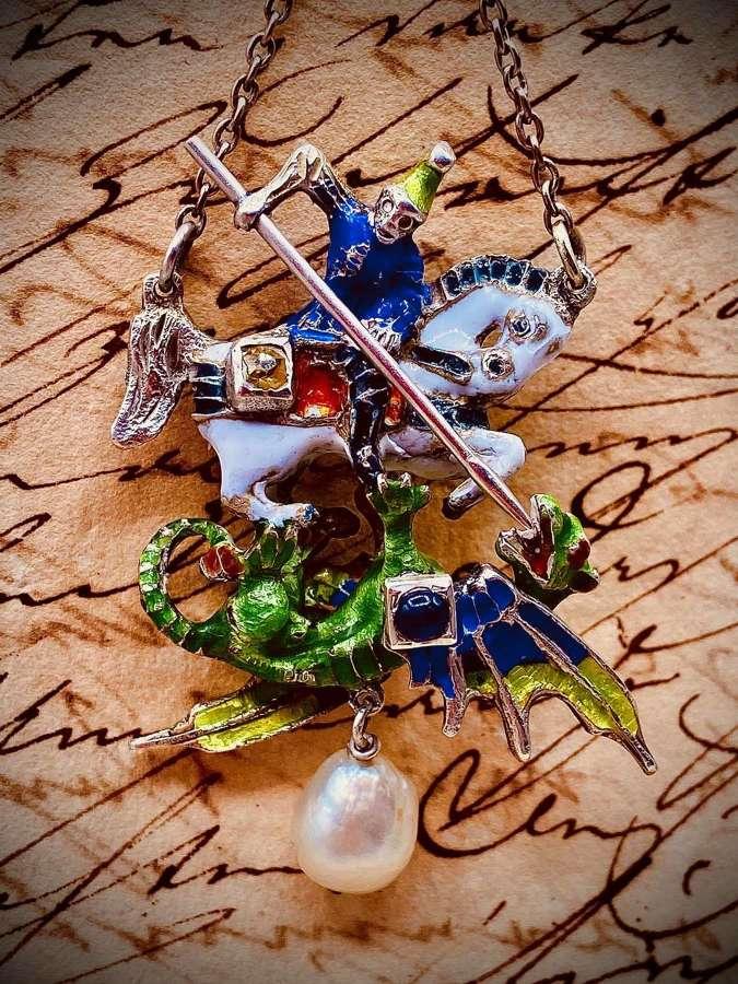Victorian Silver, Enamel, Diamond & Ruby St George & Dragon Pendant