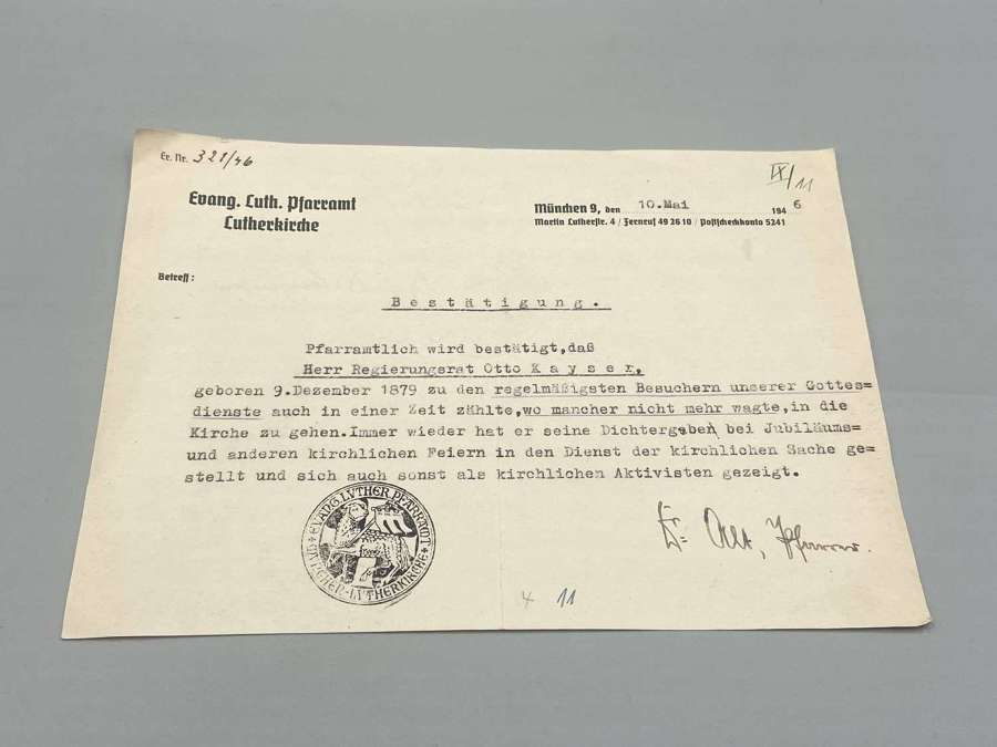 WW2 German Luther Church Freedom Activist & Civil Right Support letter
