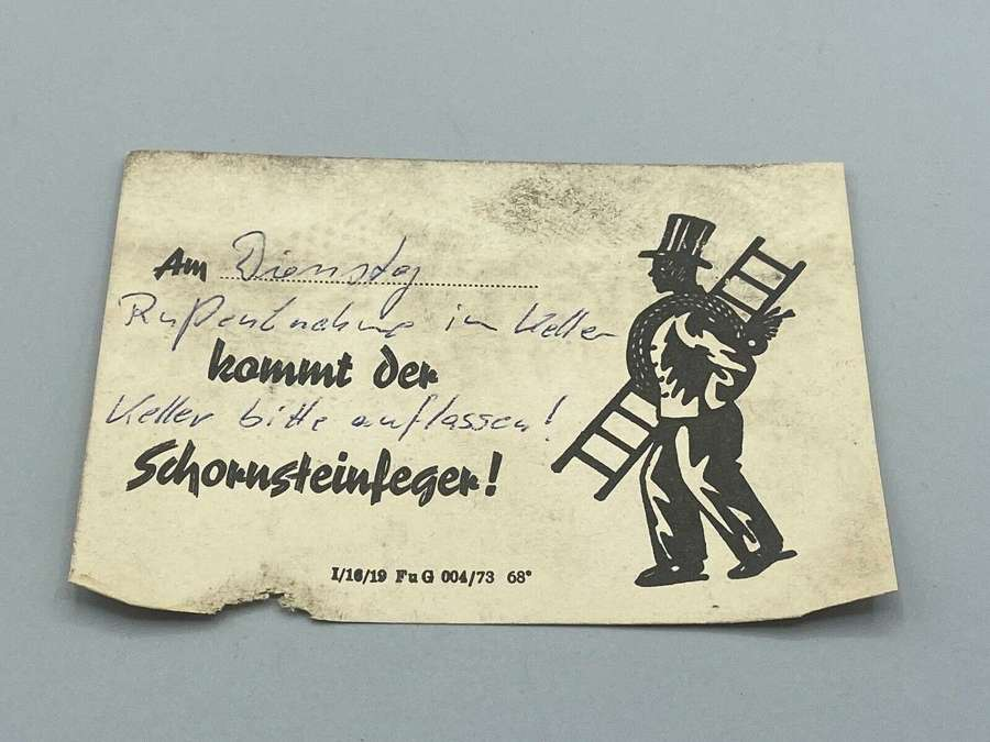 Antique 1919 German Leave Cellar Open Chimney Sweeper Note Document