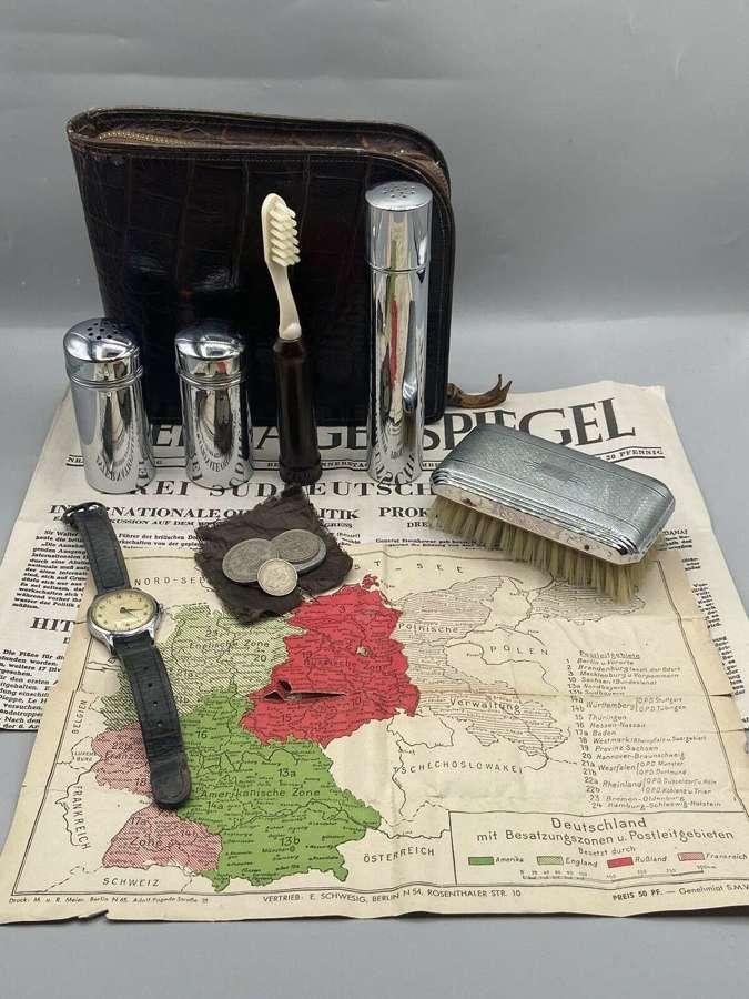 Post Ww2 German Zone Travel Escape Kit Vanity Kit, Ingersol Watch Etc