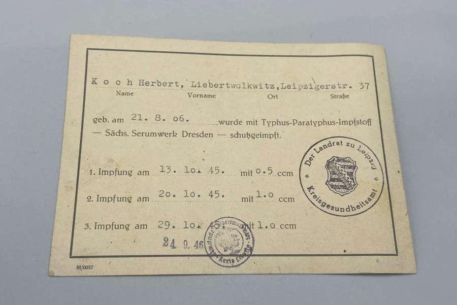 WW2 German Triple Vacination Card For Typhus In Dresden