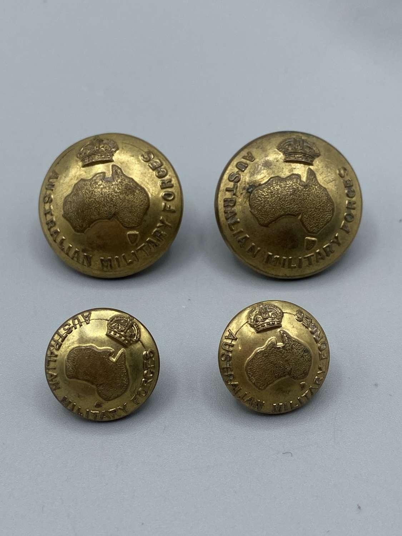 4 X WW2 Australian Military Forces Brass Buttons