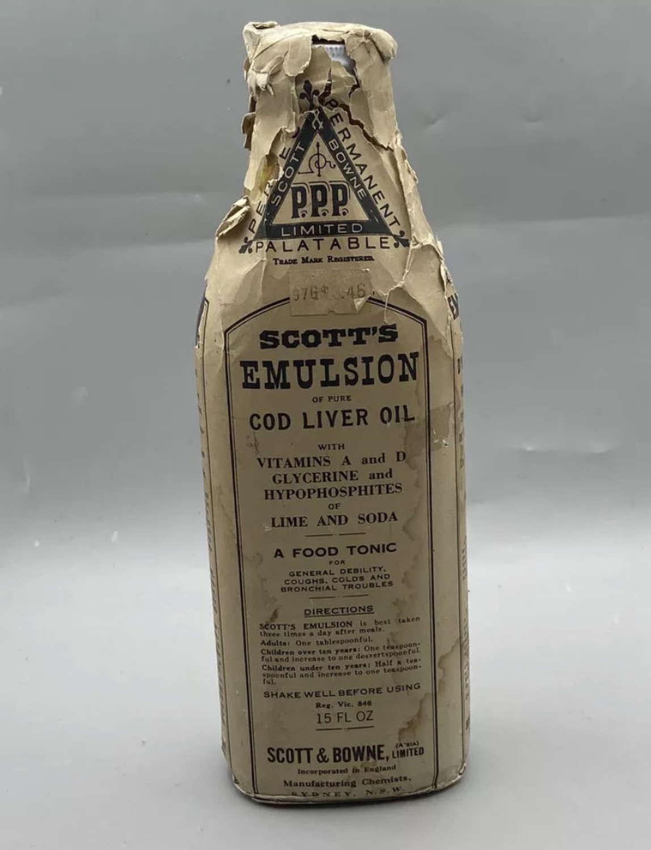WW1 Unopened British Home Front Scotts Emulsion Cod Liver Oil Bottle