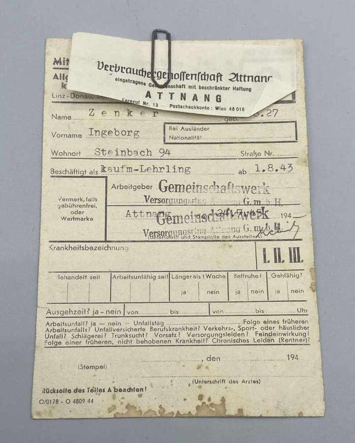 WW2 German 1943 Workers Insurance Dentists Dental Document & Scan