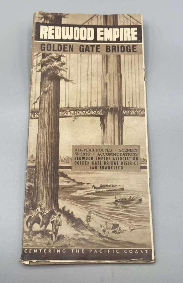 WW2 United States 1941 Brochure Redwood Empire Golden Gate Bride