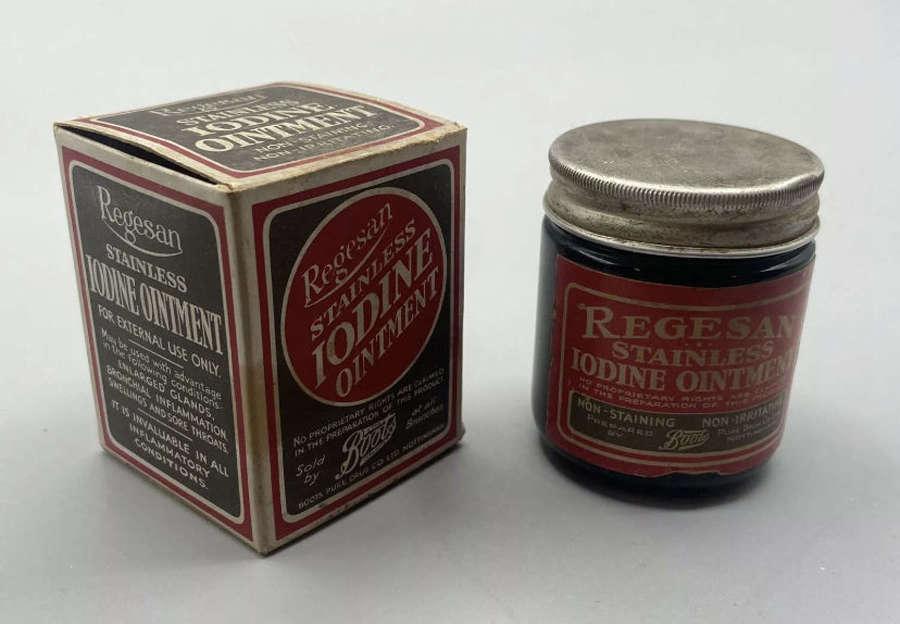 WW1 1910s Unopened Regesan Stainless Iodine Ointment Jar & Box