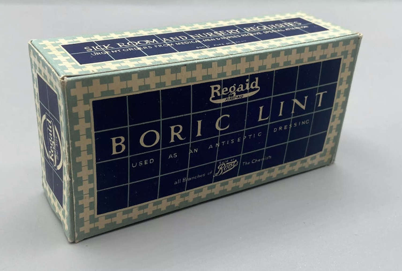 WW2 Sick Room & Nursery Requisites Borlic Lint Dressing Box & Content