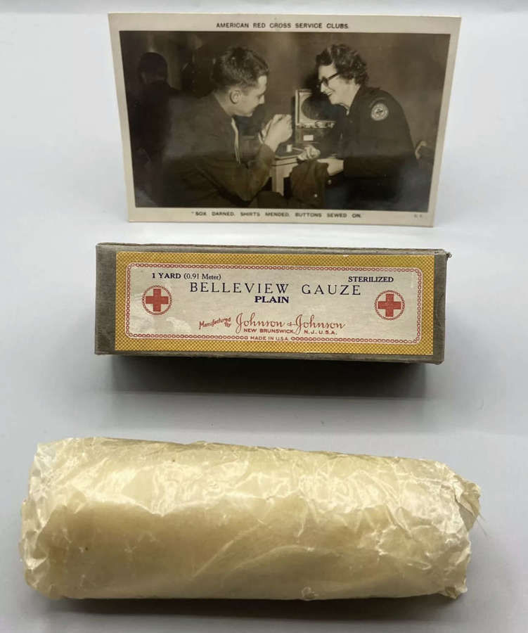 WW2 United States Red Cross Service Postcard And Belleview Gauze
