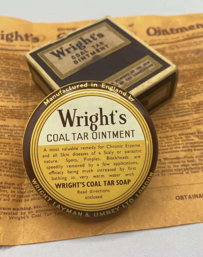 WW2 1930s Wrights Coal Tar Ointment Unused Box, Leaflet & Tin
